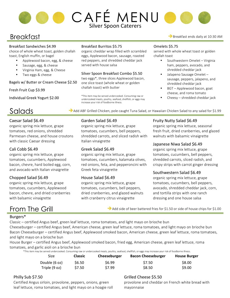 Silver Spoon Cafe Menu - Page 1